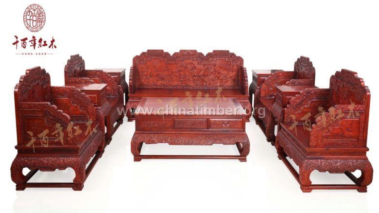 红酸枝家具 千百年红木古典沙发