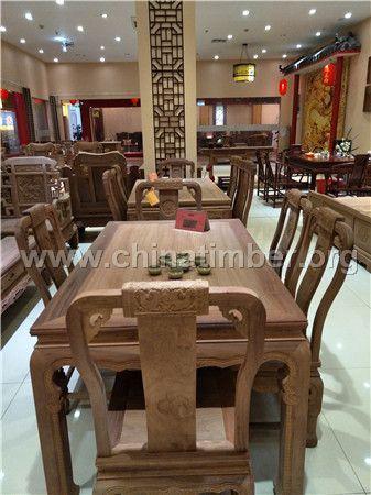 雍王府红木 缅甸花梨木 刺猬紫檀 龙腾西餐桌