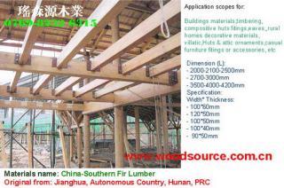 现代集成住宅、木屋材料-杉木方料+杉木板