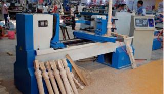 柱子拉槽和麻花可用的150型双轴双刀车铣一体机