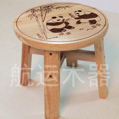熊猫小圆凳 双层橡木凳 儿童板凳