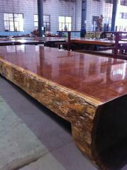 极品巴花大板巴花连体桌老板办公桌高端红木实木定制家