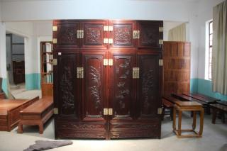 红木手工雕刻家具紫檀顶箱柜高档实木卧室衣柜大信杉江