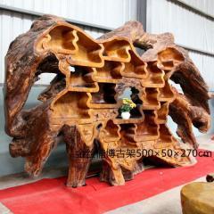 金丝楠博古架红木整体根雕纯手工雕刻大厅艺术摆件观赏