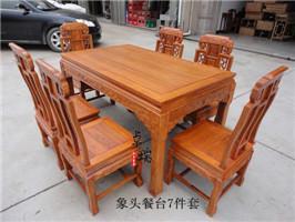东阳红木象头餐台7件套