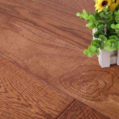 麦可麦乐橡木实木地板横刀纹辊涂室内平扣环保地板