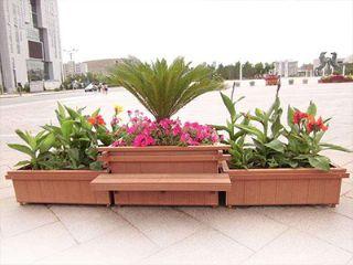 户外优质木塑花箱,塑木工程园艺花箱,郑州室外道路移